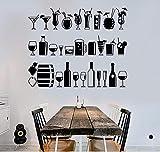 Sticker mural mode créatif bricolage décoration de la maison PVC autocollant mural verre de vin fournitures étagère cuisine décoration 57 * 46 CM