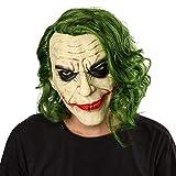 NUWIND Joker Maske mit Haare Latex Kopfmaske Vollmaske Horror Gesichtsmaske für Halloween Karneval Party Kostüm