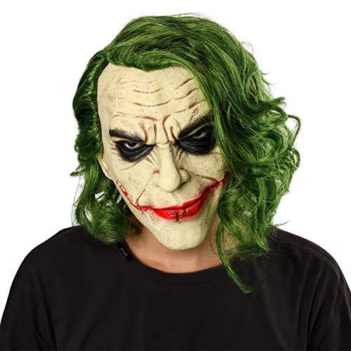 NUWIND Maschera Joker in Lattice con Capelli Verdi, Maschera da Clown Pieno Spaventoso per Adulti e Bambini, Accessorio Fantasy per Halloween, Cosplay, Travestimento
