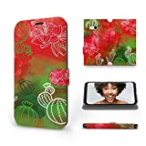 Mobiwear | Slim FLIP Case | Kompatibel mit Nokia Lumia 730, Made in EU handyhülle, Premium Schutzhülle, Transparent TPU Silicon, Book Style Hülle, Tasche - Kaktusse & Blumen