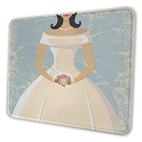 Brautdusche Büro Mauspad Grunge Sketchy Design Hintergrund Hochzeit Brautkleid Vintage Artwork Inspirierende Mauspad für Frauen Hellblau und Weiß