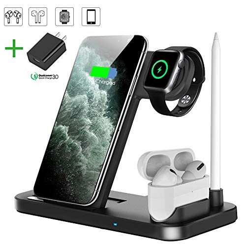Wireless Charger, QI-EU 4 in 1 Qi-Certified 18W Fast Charging Station Compatible Apple Watch Airpods iPhone 11/11pro/X/XS/XR/Xs Max/8/8 Plus, Wireless Charging Stand Compatible Samsung Galaxy S20/S10