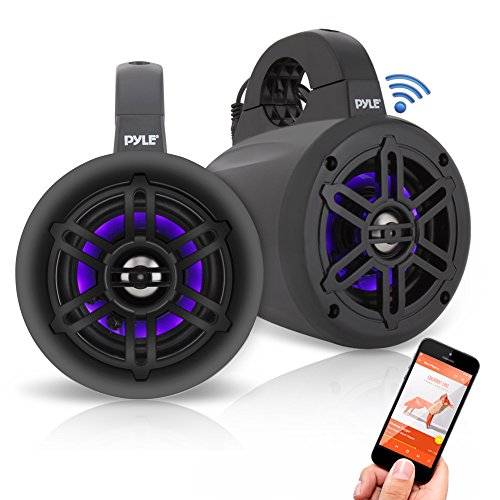 Pyle PLMRLEWB47BB 4 Inch 300 Watt Bluetooth Wireless Streaming Waterproof Marine Grade Tower Speaker System, Pair