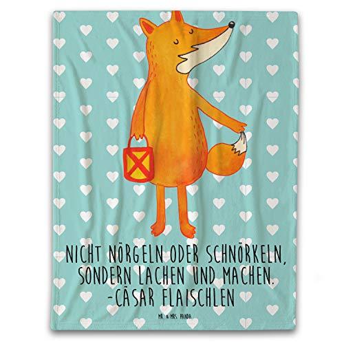 Mr. & Mrs. Panda Wolldecke, Sofadecke, 140x200cm Kuscheldecke Fuchs Laterne mit Spruch - Farbe Türkis Pastell