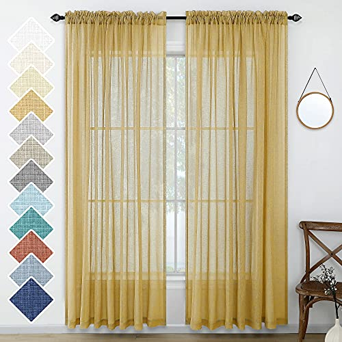 Gold Sheer Curtains 96 Inches Long for Living Room 2 Panels Rod Pocket Lightweight Linen Look Fall Autumn Mustard Curtains for Family Room Dining Bedroom Patio Door Farmhouse Style 52x96 Length Yellow