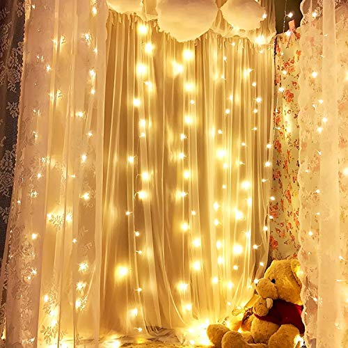 Luces de hadas de cortina, GVDV luces de cortina LED de ventana LED de 3mx3m 300 Decoración navideña, Cadena de interior al aire libre para Gazebo, Boda, Dormitorio, Fiesta, Blanco cálido