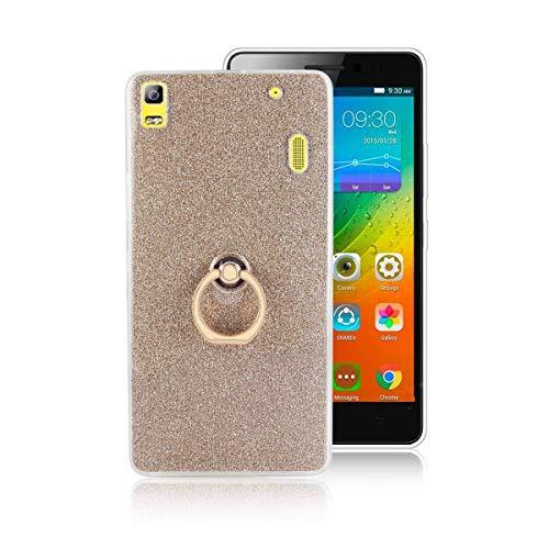 tinyue® Funda para Lenovo K3 Note, Glitter Funda de Silicona TPU Suave Ultrafina Cubierta de protección Golpes con Anillo de Metal Hebilla de Concha, Dorado