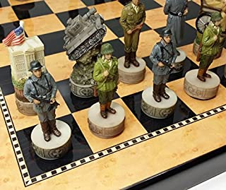 World War 2 US vs Germany Chess Set Hand Painted W/ Walnut and Maple Color Board WW2