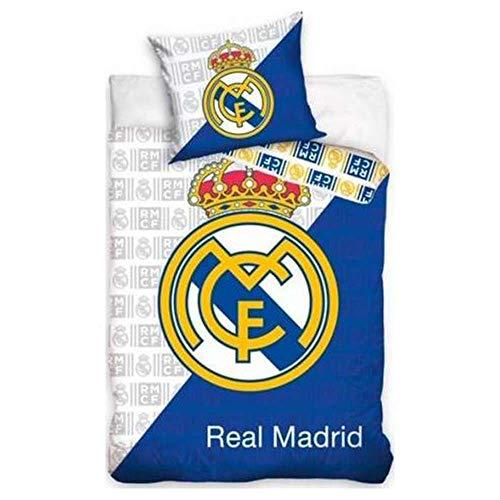 Real Madrid - Juego de funda nórdica para cama individual (63 x 63 cm, 100% algodón, incluye 1 funda de almohada)
