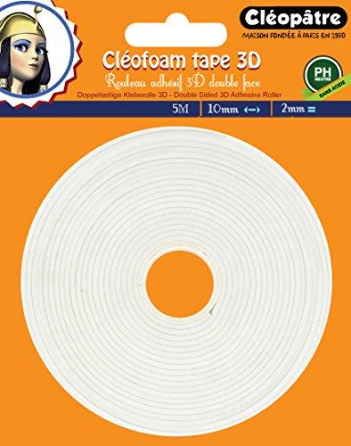 Cléopâtre Cléofoam Cléopâtre-SCRAP-RM2X5-Cléofoam Tape 3D adhésif Double Face en 2mm Scrapbooking, Colle, Transparent, Rouleau de 5 M pour 2 mm épaisseur