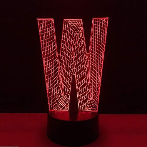 3D LED Luz de noche Letra del alfabeto W color Inalámbrico Led control remoto USB Touch bar decoración del hogar Kid Gift