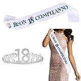 """FLOFIA Corona Compleanno 18 Anni Corona Tiara Principessa Cristallo Diamande di Strass con Fusciacca Fasica """"Buon 18° Compleanno"""" in Italiano per Festa Compleanno Decorazione 18 Anni"""