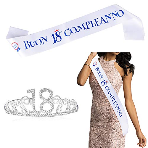 FLOFIA Kit Tiara Cristal Rhinestone Corona Diadema Cumpleaños 18 + Faja Banda Cumpleaños 18 Años de Saten Italiano Buon 18° Compleanno Fajin Cumpleaños Satin Sash Conjunto Disfraz 18 Feliz Cumpleaños