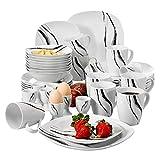 VEWEET Teresa Vajillas de 40 Piezas Juegos de Porcelana con 8 Hueveras, 8 Tazas Mugs 350 ml, 8 Cuencos de Cereales, 8 Platos y 8 Platos de Postre para 8 Personas