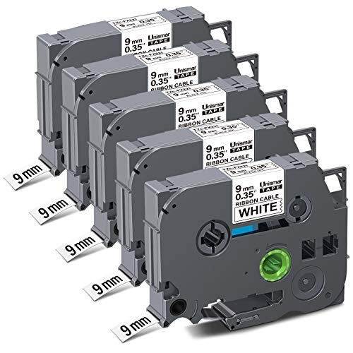 "Unismar Compatible for Brother TZe-FX221 Flexible-ID 0.35'' Laminated TZ Tape for Brother PT-D200 PT-D210 PT-D600 PT-D400 PT-H100 PT-H110 Label Maker, 3/8"" x 26.2', Black on White, 5-Pack"