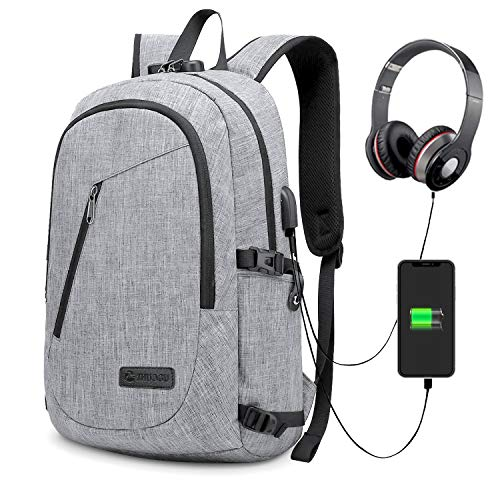 SmartVenture Anti Theft Backpacks and Laptop Bag Luggage Locks, Shoulder Support Straps, External Earphone and USB Charging Port - Eco Friendly, Water Resistant Work, Student, Travel Rucksack Grey