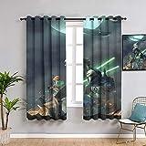 Sdustin Star-Wars - Cortinas de salón (132 x 160 cm), diseño de sable de luz (132 x 160 cm)