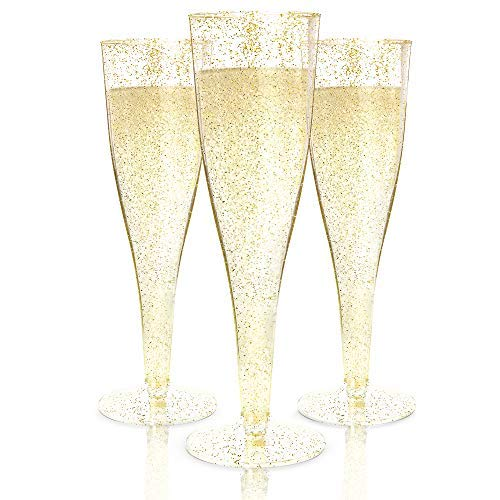 100 Plastic Champagne Flutes Disposable   Gold Glitter Plastic Champagne Glasses for Parties   Glitter Clear Plastic Cups   Plastic Toasting Glasses   Mimosa Glasses   Wedding Party Bulk Pack