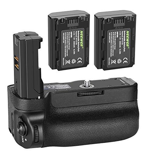 Neewer Poignée d'alimentation Verticale pour Appareils Photo A9 A7III A7RIII, Remplacement pour Sony VG-C3EM avec 2 pcs Batterie Li-ION Rechargeable 7,2v 2280mAh 16,4Wh