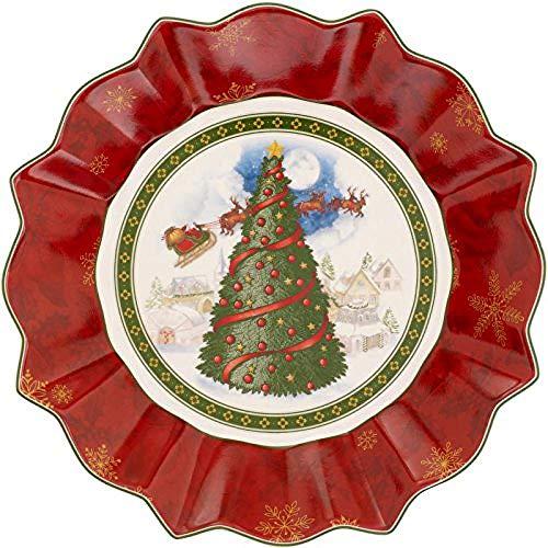 Villeroy & Boch 1483323646 Toy's Grande Coupelle Toy's Fantasy Motif Sapin Arts de la Table de Noël Porcelaine Rouge 27 x 23,5 x 5 cm