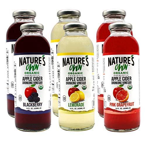 Nature's Own Organic Apple Cider Drinking Vinegar (Pack of 6) Variety Pack with 2 x Pink Grapefruit, 2 x Lemonade, 2 x Blackberry