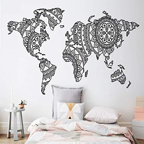 BFMBCH Mandala Weltkarte Wandaufkleber Vinyl Art Schlafzimmer Dekorieren Yoga Wand Muster Wand Dekor Modern Style Home Decor Wandaufkleber 19 Grün 85x42 cm