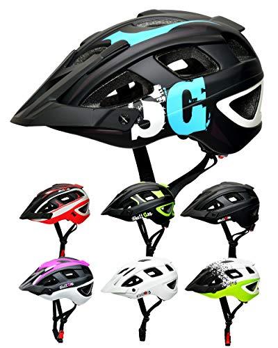 SkullCap® Casco Bici MTB - Uomo e Donna - con Visiero, Taglia M (55-58 cm), Colore: Blu Nero Bianco