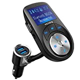 VicTsing Transmisor FM Bluetooth Manos Libres,3 Puerto USB Cargador del Coche 1.44 Pulgadas Adaptador de Radio Reproductor de Música MP3 Kit Soporte Entrada/Salida AUX,Tarjeta TF para Móviles,Tablet