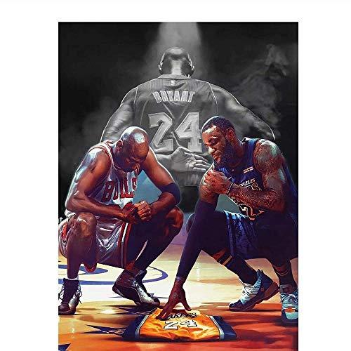 Michael Jordan Kobe Bryant Lebron James Nba Posters Nba Stars Legend decoración del hogar sala de estar arte de pared para habitación de niños 50x70cm sin marco