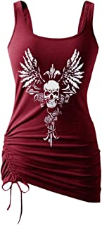 Women Sexy Tank Top, OULSEN Summer Fashion Drawstring Hem Digital Printing Skull Pattern Round Neck Sleeveless Vest Blouse Tops Plus Size T-shirt