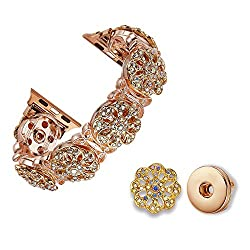 38/40MM Only-Faux Crystal Floral Apple Watch Band