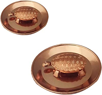 Divya Mantra Feng Shui Pure Copper Tortoise/Turtle & Diameter Water Plate; Vastu Living Positivity, Wealth, Money, Good Luck & Longevity; Home, Office Decor Gift Items/Products-Set of Big & Small