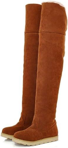 Fuxitoggo Bottes pour Les Les dames - Bottes Chaudes d'hiver Bottes pour Les Les dames sur Le Genou Bottes Plates antidérapantes 34-39 (Couleuré   Jaune, Taille   38)