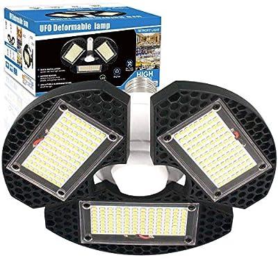 LED Garage Lights,100W Deformable LED Garage Ceiling Lights12500 LM CRI 80 Led Shop Lights for Garage, Garage Lights with 3 Adjustable Panels, Utility Led Garage Lighting (No Motion Activated)