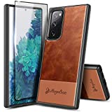 NZND Case for Samsung Galaxy S20 FE 5G with Tempered Glass Screen Protector (Full Coverage), Premium Cowhide Leather Hybrid Defender Protective Shockproof Rugged Durable Case -Brown