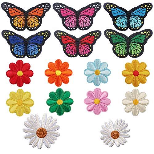 16 Pezzi Toppa ricamata termoadesiva da cucire, Ricamo Farfalle Toppe termoadesive Fai da Te con fiori, margherite, farfalle decorazioni assortite per vestiti, giacche, zaini, jeans, gonne