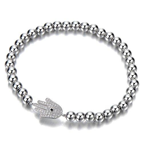 COOLSTEELANDBEYOND Pulsera de Perlas de Mujer Hombre Niñas, Pulsera del Encanto, Brazalete con Zirconio Cúbico Hamsa Mano de Fátima