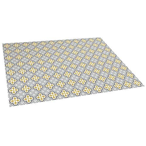 STORESDECO - Alfombra Vinílica Mosaico, Alfombra de Vinilo Acolchada, Lavable y Antideslizante. Es una Alfombra Ideal para Cocina, Salón, Dormitorios… | Color Flor Gris, 120 cm x 180 cm