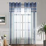 miulee lino voile tenda finestra con occhielli tenda a pannello tende a vela trasparente per soggiorno e camera da letto 2 pezzo set blu+azzurro 140x260cm