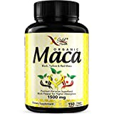 Organic Maca Root Powder Capsules Black, Red, Yellow - 150 Vegan Pills - 1500mg Strongest Peruvian Maca Gelatinized for Energy, Performance, Mood for Men and Women w/Black Pepper for Best Benefits