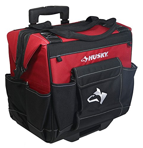 "Husky GP-44316AN13 14"" 600-Denier Red Water-Resistant Contractor's Rolling Tool Tote Bag with Telescoping Handle"
