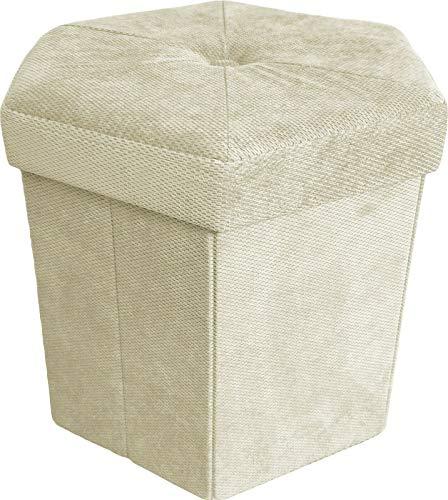 pouf contenitore beige DEMONA Pouf CUBO Velluto IMPOTTITO Esagonale 43x43x40 Puff Box Trapuntato Vari Colori SPEDIZIONE Gratuita (Beige)