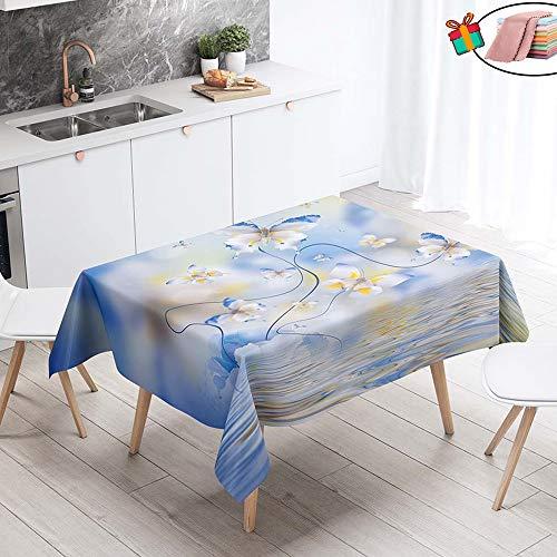 Morbuy Nappe Anti Tache Rectangulaire, Imperméable Étanche à l'huile 3D Imprimé Carrée Couverture de Table Lavable pour Ménage Cuisine Jardin Picnic Exterieur (Jaune Papillon,140x160cm)
