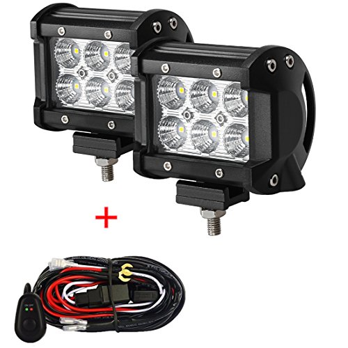 LED Light Bar+Wiring Harness, 2Pcs 4  18W Cree Flood Beam Offroad Pods Work Light Auxiliary Driving Fog Lamp for ATV SUV Jeep Boat