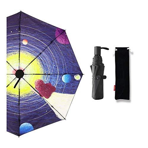 JIAJBG Paraguas Plegables Mini Paraguas de Viaje, Amplificador de Sol Pequeño; Paraguas de la Lluvia con Protección Urocrédito a Prueba de Viento Parasol Portátil Al Aire Libre Para