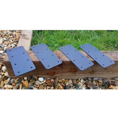 4 X Straight Timber Railway Sleeper Brackets Wooden Planter Raised Bed Edging - Black