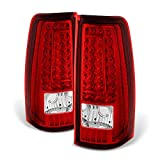 ACANII - For 1999-2002 Chevy Silverado 1500 99-06 GMC Sierra Red LED Tail Lights Brake Lamps