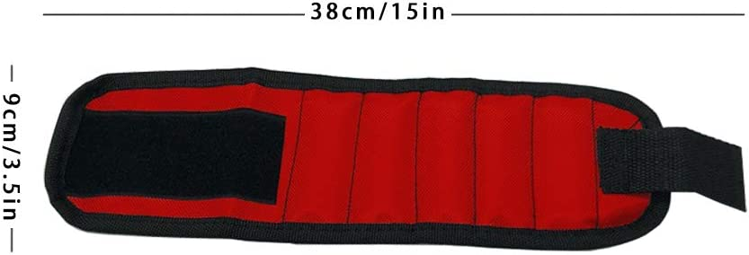 Yisily Magnetic Wristband Hand Wraps Adjustable DIY Electrician Tool 3 Rows 6 Magnets with Strong Magnets Red for Home Repair