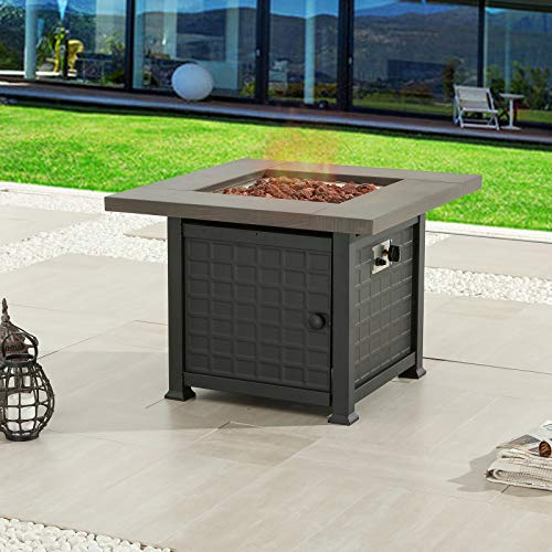 Festival Depot 34' Outdoor Propane Fire Pit Table Gas Fire Auto-Ignition 50,000 BTU Fire Pit with Metal Top Cover Lava Rock for Patio Courtyard Balcony CSA Certification, Bronze