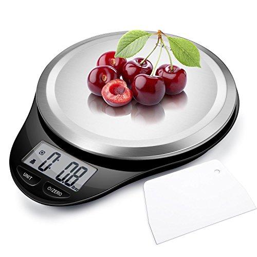 CAMRY Bilancia da cucina Digitale, Bilancia Elettronica ad Alta Precisione con Display LCD, Funzione di Tara, Acciaio Inossidabile, 5kg/11lb (Nero)
